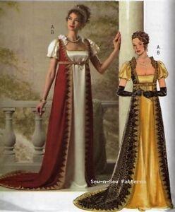 Butterick-B4890-SEWING-PATTERN-6-12-Tudor-Regency-Dress-Gown-Empress-Costume-OOP