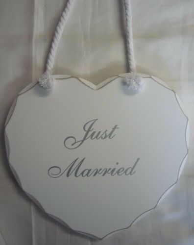 Just Married Large Shabby Chic Love Heart Wooden Plaque Sign