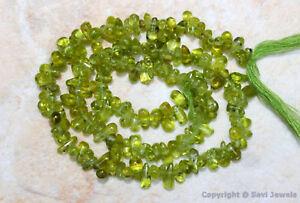 "Peridot 6-8mm long x 3-4mm wide Sidedrill Plain Drops Gemstone Beads 14"" Strand"