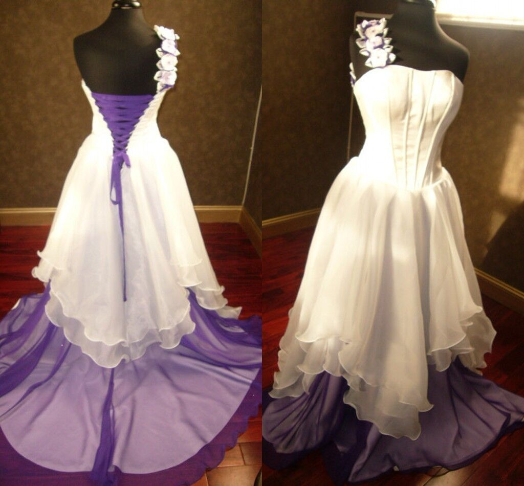 White And Purple Bridal Gowns Gothic Wedding Dresses Corset Lace Up