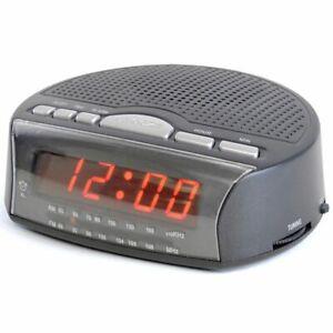LCD-Display-Retro-Alarm-Clock-Radio-AM-FM-Snooze-Black-Colour-Mains-UK