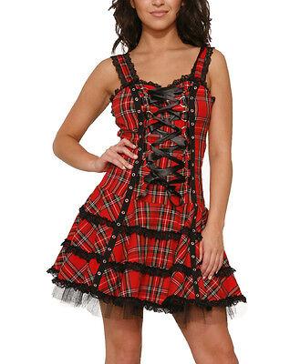 H&R LONDON RED TARTAN SCHOOL GIRL GOTHIC PUNK MINI DRESS VINTAGE PARTY CLUB