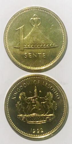Lesotho 1 sente 1992 Hat magnetic 17mm Copper Steel Coin UNC KM54a