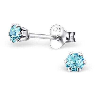 Sterling Silver Aqua Crystals Stud Earrings 3mm Small Cute Genuine SOLID 925