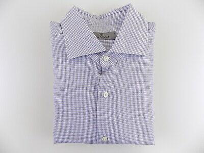 $296 HUGO BOSS Mens SLIM-FIT BLUE WHITE LONG-SLEEVE BUTTON DRESS SHIRT 15.5 39