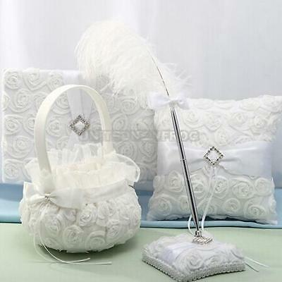 Romantic Holy White Rose Satin Brial Wedding Ceremony Party Flower Girl Basket #