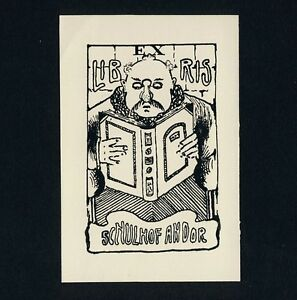 BANDTILEExlibris Bookplate * MILORAD PRVANOV * Lesender Andor Schulhof Judaica Man+Book