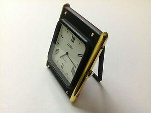 Vintage-Table-clock-LEROY-Quartz-Horloge-de-Table-Steel