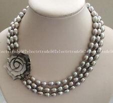 "Women's Jewelry Fashion 3 Rows 8-9MM Gray Akoya Pearl Necklace 17-19"""