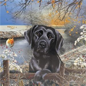 Square Jigsaw - Black Labrador Frosty Morning