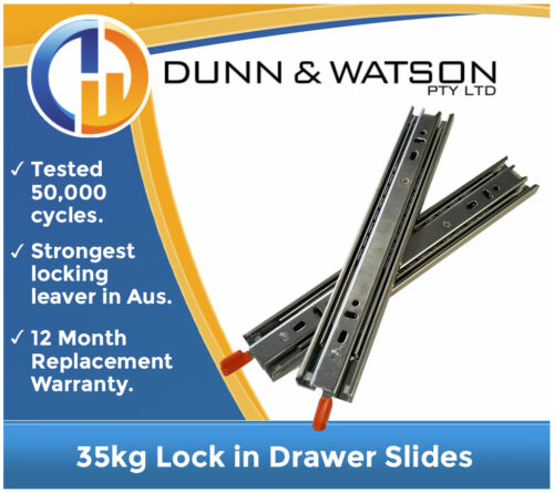 350mm 35kg Lock in Drawer Slides // Fridge Runners Hardware Draw Trailer