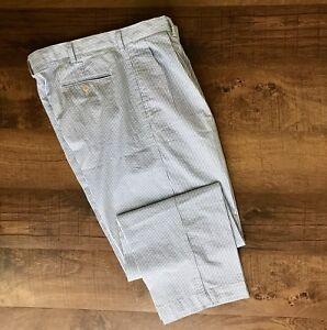 Polo-Ralph-Lauren-Blue-Seersucker-100-Cotton-Pleated-Andrew-Pant-Trouser-36-30