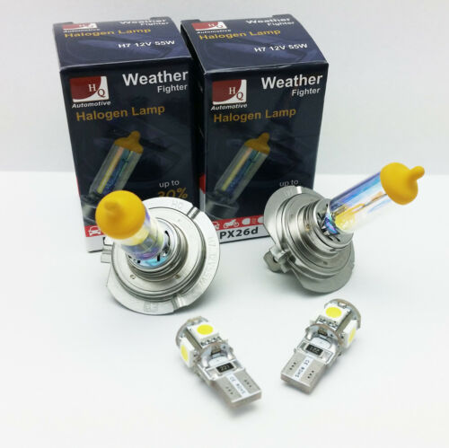 H7 FRONT FOG HIGH W5W LED PARKING WEATHER FIGHTER CAR BULBS HEADLIGHTS SET 12V A