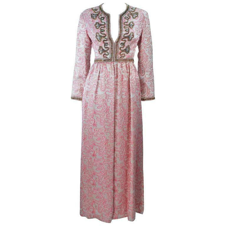 CEIL CHAPMAN 1960s Pink Paisley Brocade Gown with… - image 1