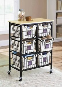 6 drawer metal wire cart rolling organizer home kitchen storage with baskets ebay. Black Bedroom Furniture Sets. Home Design Ideas