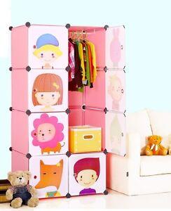Plastic Wardrobe Cupboard Almirah Kids-Slx- Lkl-68- Pnk