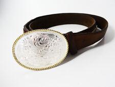 Tony Lama Duke Leather Belt with Montana Silversmiths Buckle