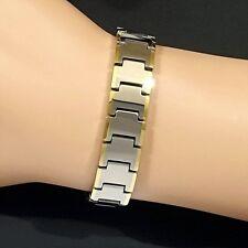 Magnetic Tungsten RSI CTS Arthritis Health Unisex 24K Gold Pl & Rhodium Bracelet