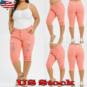 Plus-Size-Womens-Ripped-Capris-Jeans-Knee-Length-Shorts-Pants-Casual-Trousers