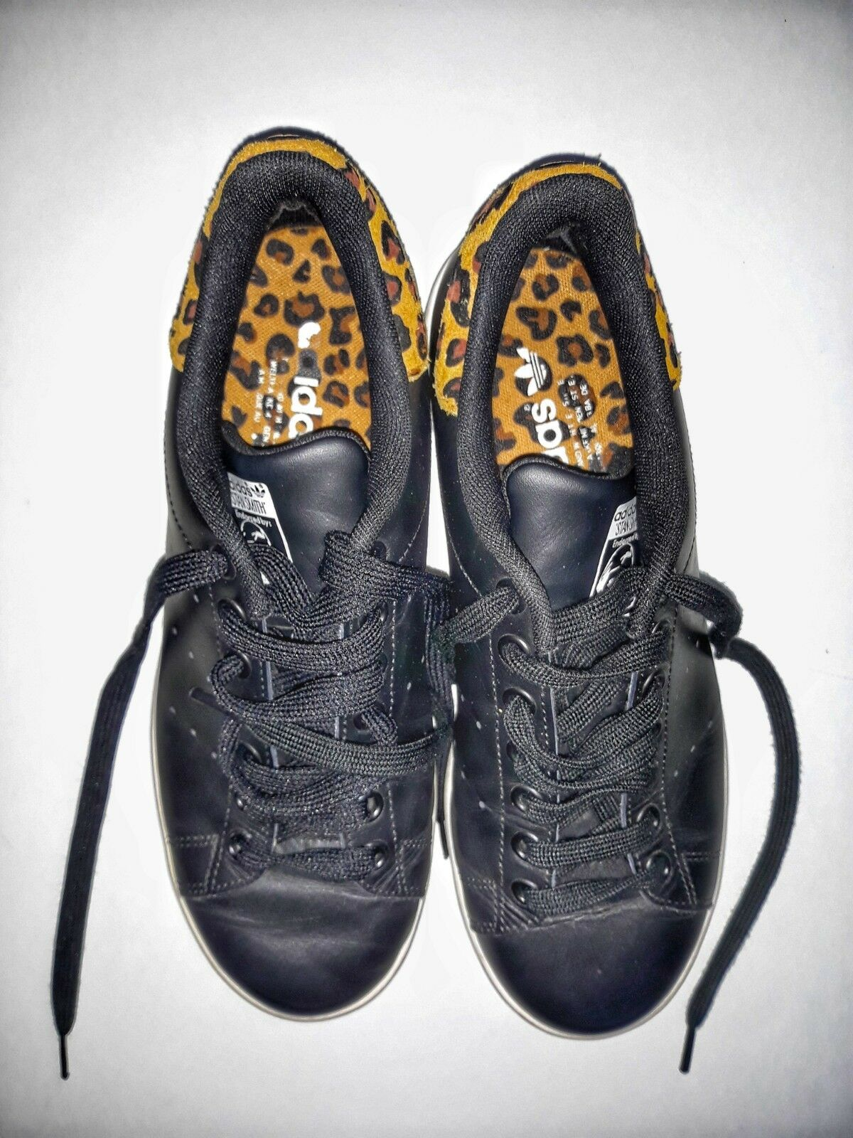 Adidas Stan Smith DONNA nere con retro leopardato n. 40 e 2 3
