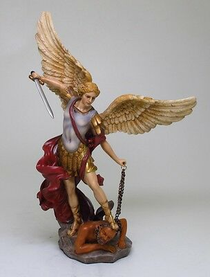 ST. MICHAEL THE ARCHANGEL GUARDIAN DEFEATED SATAN FIGURINE STATUE.CHRISTIANITY