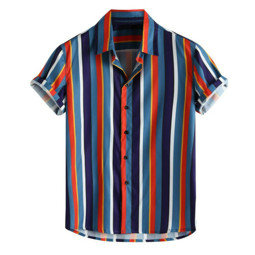 Men/'s Breathable Striped Summer Short Sleeve Loose Buttons Casual Shirt Blouse