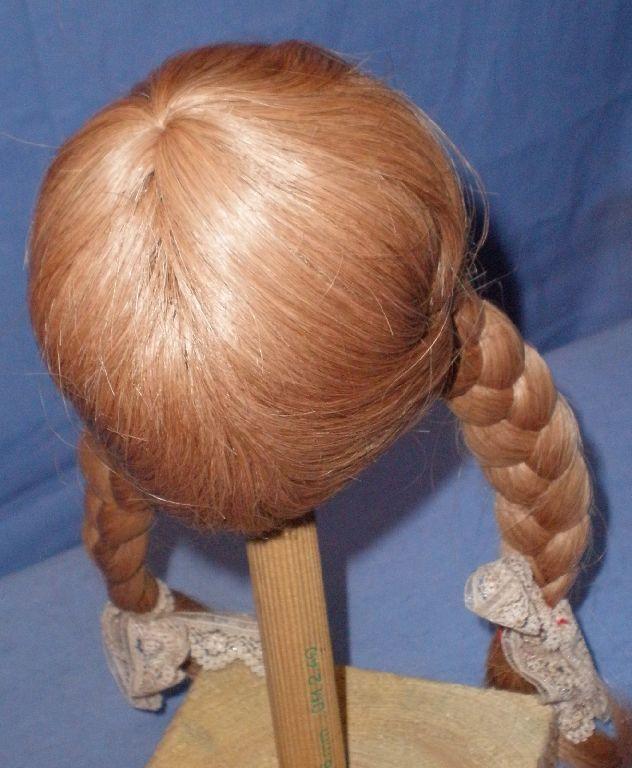 Doll wig   human hair hair hair 10  to 10.5  d.bl. braids Glorex EHperücke 25-27 dklbl. 8ba99a