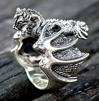 KNIGHT WARRIOR DRAGON REAL 925 STERLING SILVER RING MEN'S GOTHIC JEWELRY NEW