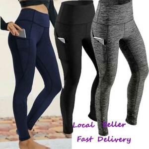 UK Womens Compression Leggings Yoga Pants Gym High Waist Sports Fitness Trousers