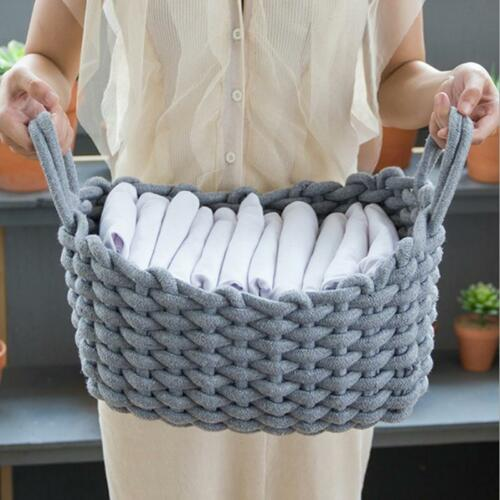 Large Cotton Rope Basket Woven Laundry Blanket Toy Storage Magzines Container W