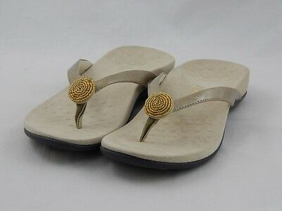 Vionic by Orthaheel Felipa Pale Gold Embellished Thong Sandals PREOWNED