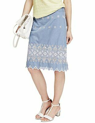 SS6 Per Una Pure Cotton Chambray Knee Length Skirt RRP  £35