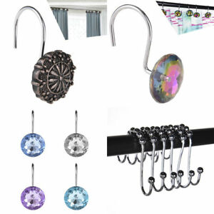 Image Is Loading 12 PCS Shower Curtain Rings Metal Acrylic Hooks