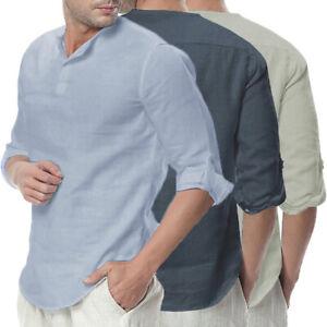 Hommes-Vintage-T-shirt-a-col-en-V-Henley-100-coton-chemise-decontractee-shirt