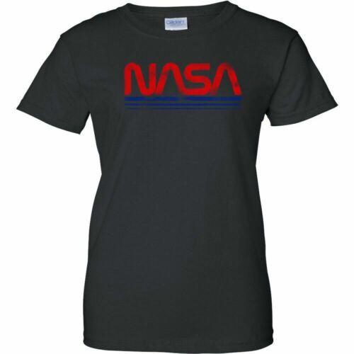 NASA Vintage Worm Logo Womens T Shirt Space Astronaut Retro Ladies Tee UFO Mars