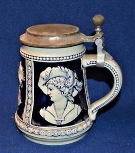 Vtg Original GERZIT Germany Ceramic Cobalt Blue PORTRAITS Lidded Beer Stein