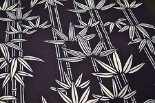 Japanese Cotton Yukata Fabric Navy and White Bamboo leaf design 1086