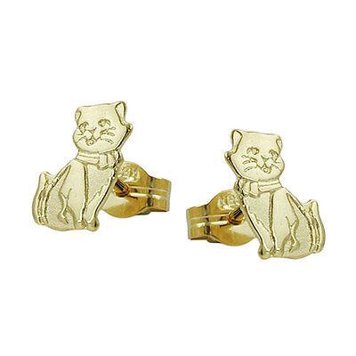 Mädchen süße Katzen Ohrstecker Katze Kinder Ohrringe aus Echt Gold 333 8 Karat