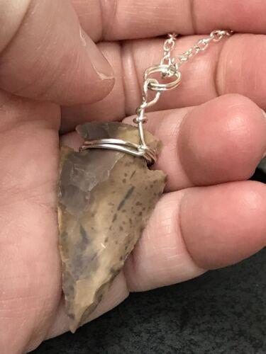 Native American Cherokee Arrowhead Real Stone Pendant Charm D-1489