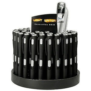 10-x-Led-Kugelschreiber-Light-Writer-Schwarz-matt-Silber