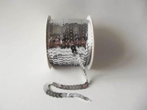 x 6mm Strung Metallic Flat Sequins 100yds 92m Silver