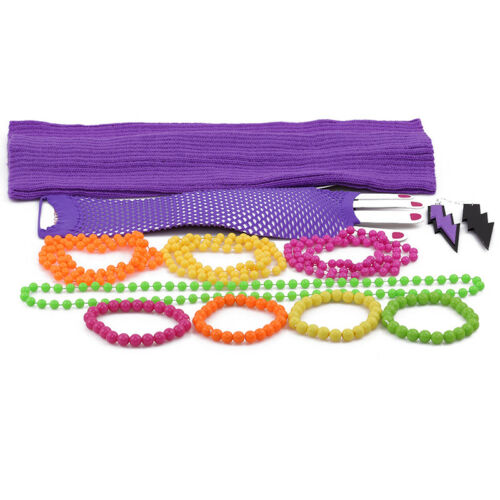 70s//80s Theme Neon Plastic Beads Long Necklace Bracelets Costume Hot Disco Fancy