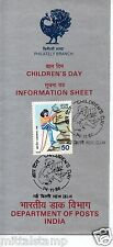 PHILA1053 INDIA 1986 CANCELLED FOLDER BROCHURE OF NATIONAL CHILDRENS DAY