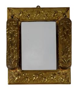 Antique Embossed Brass Plate Vanity Dressing Wall Mirror Hanging Brushes Vintage