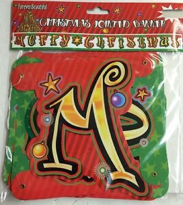 Merry Christmas Banner Hanging Jointed 8 Long 7 Quot Tall New