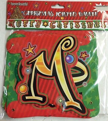 """Merry Christmas Banner Hanging Jointed 8/' Long 7/"""" Tall New BUY 2 Get 1 FREE"""