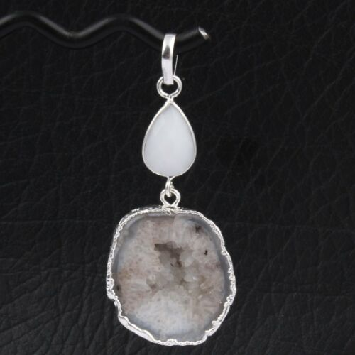 Natural Geode Druzy Hydro Quartz Chalcedony Silver Plated Party Wear Pendant