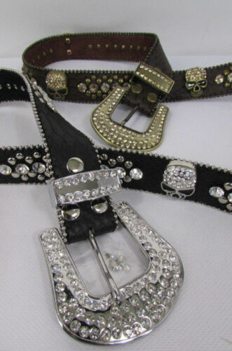 New Women Black Brown Leather Western Fashion Belt Metal Stud Skull Buckle S M L