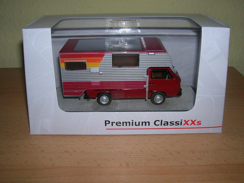 Premium Classixxs VW T3a Pritschenwagen Tischer-Camping red silver 1 43