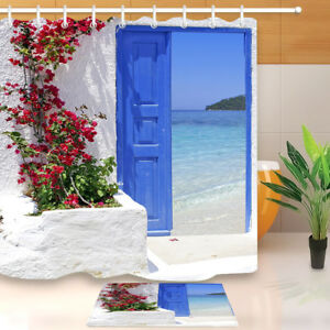 Details About Greece Traditional Greek Door 71 Fabric Shower Curtain Set Bathroom Accessories